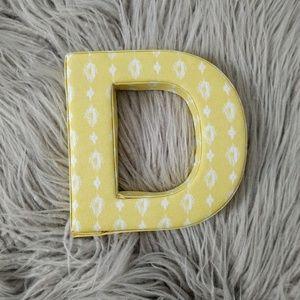 Yellow Ikat Initial Decor Letter D